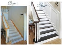 The Amazing Staircase Makeover Ideas 80 For Modern Decoration Design With Staircase Makeover Ideas Awesome Interior Room Painting Ideas and Diy Room Partitions Decorating Home Plan ikea small space modern decor wallpaper pictures Home Staging, Home Renovation, Home Remodeling, Staircase Makeover, Redo Stairs, Stair Redo, Refinish Stairs, Basement Stairs, Staining Stairs