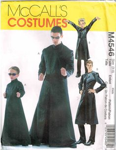 Boys Kids  Matrix Morpheus Gothic Duster Coat Halloween Costume McCalls 4546 Sewing Pattern by PeoplePackages