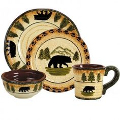 Black bear dinnerware - love this dinnerware set! The mug is HUGE and holds a ton of coffee ;)