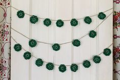 kelly green crochet flower garland by salvageeighteen on Etsy, $20.00