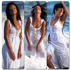 Rihanna white beach dress