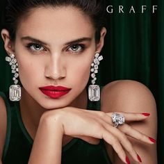 Sara Sampaio is the new face of Graff Diamonds. The luxury jeweler enlists the Portuguese model for its 'Green Lady' campaign. In front of the lens of Emerald Cut Diamond Earrings, Solitaire Earrings, Emerald Cut Diamonds, Diamond Studs, Diamond Jewelry, Graff Jewelry, Jewlery, Diamond Ice, Cartier Jewelry