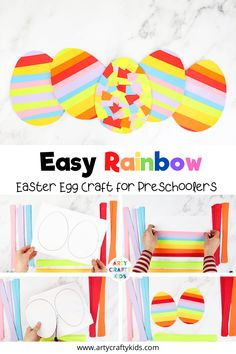 Looking for easy preschool Easter egg crafts for kids to make at home or in the classroom? These easy preschool Easter crafts for kids feature rainbow stripes + are perfect for toddlers or for preschoolers. Get the easy free printable Easter craft template here to get started! Easy Preschool Rainbow Crafts Printables Activities | Easy Kids Rainbow Crafts for Kids | Easy Preschool Crafts | Spring Easter Crafts for Preschoolers #EasterCrafts #RainbowCrafts #SpringCrafts #EasterEggs #preschool
