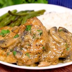 These crisp, golden baked chicken thighs are smothered in a flavorful white wine sauce with mushrooms and baked right in the pan. And easy dinner recipe with a touch of gourmet! Crispy Baked Chicken Thighs, Baked Chicken Wings, Baked Chicken Recipes, Meat Recipes, Gourmet Chicken, Cooking Recipes, Healthy Recipes, Oven Chicken, Recipe Chicken Thighs And Rice