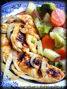 honey dijon chicken tenders with steamed veggies ~ love cookin' with my george foreman grill