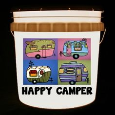 This bucket light features 4 cute canned ham campers in bright, playful colors and the words Happy Camper or Happy Campers.