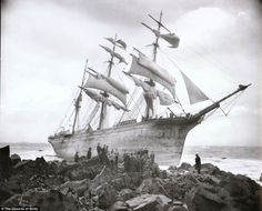 Precious cargo: The Glenbervie, which was carrying a consignment of pianos and high quality spirits crashed into rocks Lowland Point near Coverack, Cornwall, in January 1902 after losing her way in bad weather. The British owned barque was laden with 600 barrels of whisky, 400 barrels of brandy and barrels of rum. All 16 crewmen were saved by lifeboat.