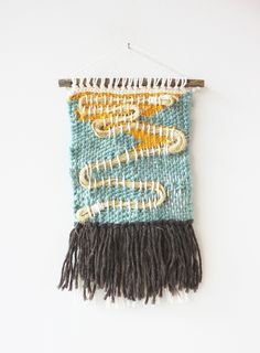 Blue and Yellow Waves Weave Wall Hanging