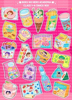 Tumblr Stickers, Anime Stickers, Cute Stickers, Cute Doodle Art, Cute Doodles, Diy Doll Miniatures, Snack Box, Acrylic Charms, Jewelry Show