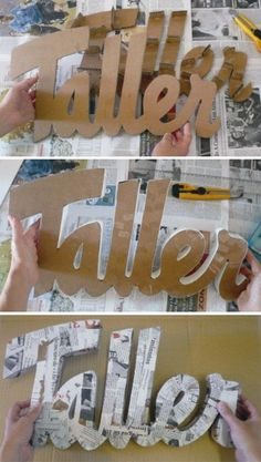 """Little House Paper: DIY: Make decorative letters very easily! I don't know why you'd make one saying """"Taller"""", but I love this idea! Cardboard Letters, Diy Letters, Letter A Crafts, Cardboard Crafts, Paper Crafts, Cardboard Boxes, Diy Projects To Try, Craft Projects, Fun Crafts"""