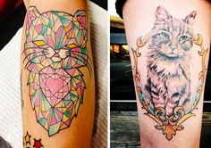 cat tattoos - I love the one on the left!