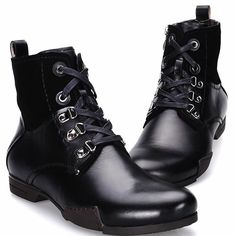 Men Black Leather Lace Up Retro Vintage Dress Ankle Chelsea Boots SKU-1100453