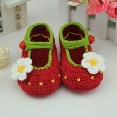 red handmade Crochet Baby Booties / baby shoes soft by rosetan, $9.99