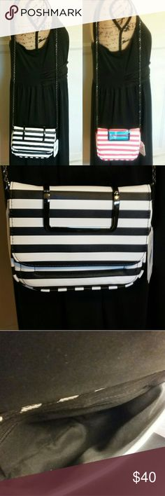"""SALE ENDS TONIGHT! STRIPED CROSSBODY PURSE RED & WHITE STRIPED CROSSBODY PURSE  NEW with tags Material unknown Can be worn on Arm or Cross body, or  remove strap and use metal handles.  One red/white purse has scrapes on metal handles due to removal of wrapping (pic 7).  Will negotiate price on slightly flawed purse Approx Dimensions: 5x7"""" With Strap Length 28.5"""" Bags Shoulder Bags"""