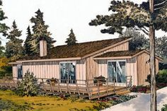 Contemporary Style House Plan - 2 Beds 1 Baths 888 Sq/Ft Plan #312-566 Exterior - Front Elevation - Houseplans.com