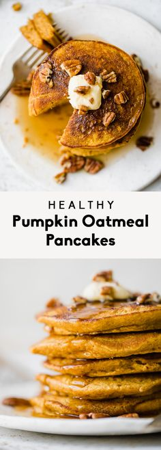 Deliciously Fluffy Healthy Pumpkin Oatmeal Pancakes Made With Pumpkin Puree, Oats, Pumpkin Pie Spices And Naturally Sweetened With A Touch Of Pure Maple Syrup. The Perfect Pumpkin Pancake Recipe That You Can Make Right In Your Blender Pumpkin Puree Recipes, Pureed Food Recipes, Cooking Recipes, Healthy Recipes, Healthy Meals, Pancakes Sans Gluten, Pancakes Vegan, Pancake Healthy, Healthy Brunch