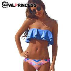 Estilo de verano bikini bandeau bikinis mujeres top traje de baño azul bajo la cintura de la vendimia empuja hacia arriba el cuerpo del traje de baño traje de baño bikini conjunto