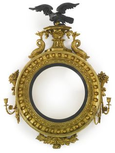 A Regency part-ebonized giltwood convex girandole mirror circa 1815 Estimate — USD LOT SOLD. USD (Hammer Price with Buyer's Premium) Mirrored Furniture, Antique Furniture, Convex Mirror, Mirror Mirror, Beautiful Mirrors, Fine Art Auctions, Through The Looking Glass, Mirror With Lights, Art And Architecture