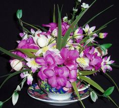 Teacup Flower Arrangement  White Crocus , $19.95