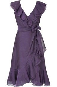 wearable and cute. Purple ruffled wrap dress, knee length, short sleeves.