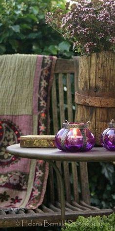 Boho purple candle holders