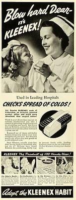 1939 Ad Kleenex Products Facial Tissue Bathroom Paper Towel Nurse Child Vintage
