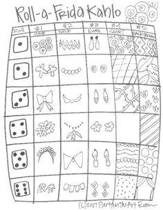 Roll a Frida Kahlo Art Lessons For Kids, Art Lessons Elementary, Art For Kids, Art Sub Plans, Art Lesson Plans, Self Portrait Art, Art Worksheets, Drawing Games, Middle School Art