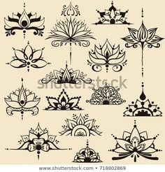 Fifteen freehand drawings of lotus flowers in east style. Can be used as a logo, for backgrounds, business style, tattoo templates, cards design or el. Lotus Kunst, Lotus Art, Lotus Henna, Lotusblume Tattoo, Mandala Tattoo, Hand Tattoos, Henna Designs, Designs To Draw, Tattoo Designs