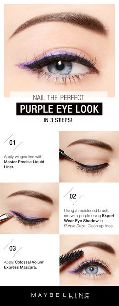 This subtle pop of color paired with the classic cat eye is a pretty twist on your typical prom make up look.  Purple will compliment any dress color and will make any eye color pop!  First, apply a winged line with Master Precise Liquid LIner.  Then, using a wet brush, line the purple using the Expertwear Eyeshadow Mono in 'Purple Daze'.  Clean up the lines if necessary.  Lastly, for bold, voluminous lashes, apply Colossal Volum' Express Mascara.