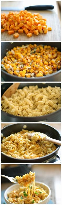 Stove top Butternut Squash Mac n' Cheese Recipe, can switch things up for a healthier version or have a treat meal