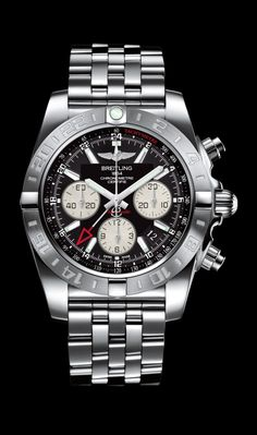 Chronomat 44 GMT traveler's watch by Breitling - Steel case, onyx black dial, steel Pilot bracelet.
