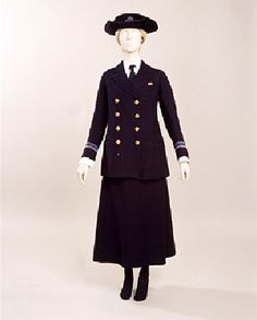 Object Name: woman's royal naval service uniform Artist/Maker: Simpson & Suter Role in production: manufacturer Place of Creation: Europe, United Kingdom Date: 1918 Accession Number: Credit: Manchester City Galleries Navy Uniforms, Military Uniforms, Navy Ranks, City Gallery, Period Outfit, Haute Couture Fashion, Royal Navy, Women In History, Navy Women