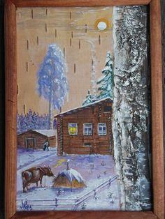 картина на бересте, деревня, корова и стог сена