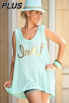 """Mint """"Love"""" Tank 3x 1x, 2x, 3x. $36.00. Blondellamy'Dean is a boutique just for Curvy Girls. Sizes 10-36. Use coupon code: pin10 for 10% off your first purchase. Create an account to receive inventory emails and special offers!"""