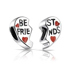 Bling Jewelry Sterling Silver Red Heart Charm Best Friends Bead Set Pandora Compatible