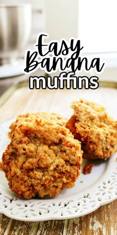 These Banana Crumb Muffins are bakery like and topped with a lovely crunchy brown sugar topping. It just takes two bananas to make these delicious muffins!