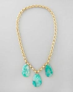 """Aqua Agate Station Necklace, 32""""L by Devon Leigh at Neiman Marcus."""