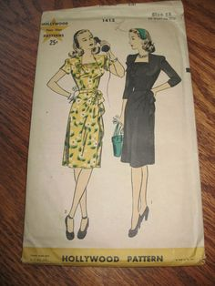 40's VINTAGE SEWING PATTERN Hollywood MISS 1-PC DRESS Cascade DRAPERY Side Front #HollywoodPattern