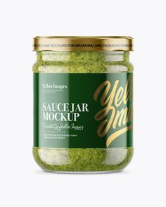 Clear Glass Jar with Pesto Sauce Mockup – Front View