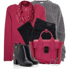 Winter Outfit With Pink T Shirt And Black Skinny Jeans