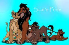 Scar and Zira with Vitani, Nuka, and Kovu.