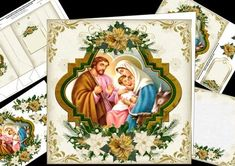 8x8 vintage nativity mini kit on Craftsuprint designed by Carol Smith - a mini kit for Christmas which has a beautiful vintage picture of the nativity framed and decorated with gold and cream poinsettia swags.Kit contains main topper, decoupage elements, gift tag, insert plate, and gift bag.thank you for looking please take a peek at my other items - Now available for download!
