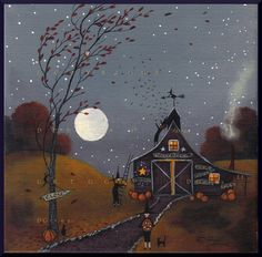 Time To Let The Bats Out a Small Halloween Witch Bat Pumpkins PRINT from the original by Deborah Gregg