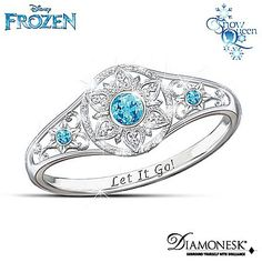 Disney's FROZEN Diamonesk Enchanted Snowflake Ring with Let It Go! Engraving