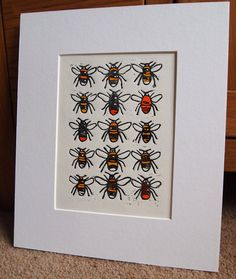 Bumble Bees Lino Print by Tournesollinoprints on Etsy, £9.95