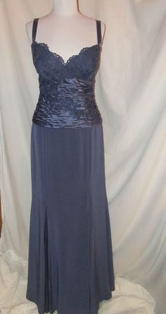 Sz 8 Montage Mon Cheri Evening MOB Gown Dress Sleeveless Lace Pearls Satin Crepe