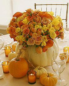 white pumpkin 'vase' w/fall color roses