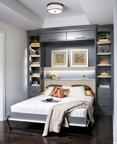 A space-saving wall bed (also known as a Murphy bed) brings a lot of benefits to your home. Here are 8 great reasons for buying a wall bed. Home Bedroom, Bedroom Furniture, Bedroom Decor, Bedroom Lighting, Furniture Ideas, Modern Furniture, Bedroom Hacks, Wall Decor, Ikea Furniture