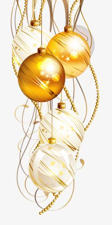Gold Christmas Ornaments Png.Painted Yellow Christmas Ball Golden Chain Golden Chain