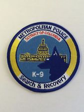 Metropolitan Police District Of Columbia K-9 Search And Recovery Patch.